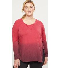 lane bryant women's livi french terry sweatshirt - dip-dye 22/24 rich merlot