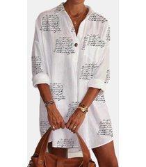 camicetta lunga da donna con colletto rovesciato stampato lettere