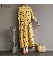 zanzea verano de las mujeres del lunar de playa corta de la manga señoras vestido flojo del vestido maxi kaftan -amarillo
