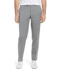 men's jack victor men's voyageur solid stretch wool blend flat front dress pants, size 30 - grey