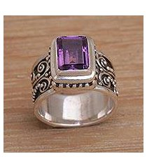amethyst cocktail ring, 'quadratic agreement' (indonesia)