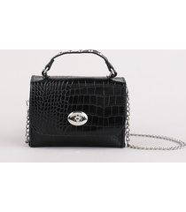 bolsa pochete feminina com textura croco e corrente preta