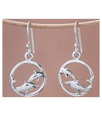 sterling silver dangle earrings, 'dolphin circle' (thailand)