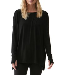 women's michael stars ribbed tunic top, size one size - black