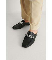 na-kd shoes loafers med kedjedetalj - black
