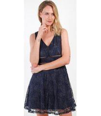 vestido de encaje lisa azul marino night concept