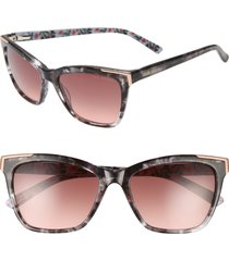 women's ted baker london 54mm square sunglasses - grey tortoise/ brown