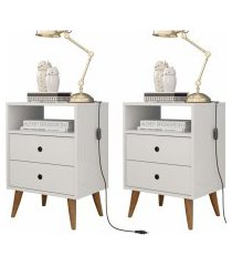 kit 2 mesa de cabeceira retrô  domus - branco - rpm móveis