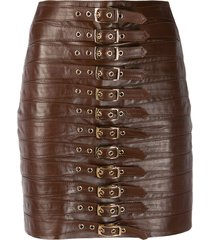 manokhi multi-buckle mini skirt - brown