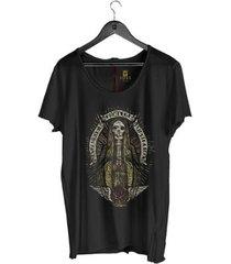 camiseta corte à fio joss santo skull masculina