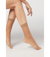 calzedonia 20 denier 3/4 length sheer socks woman nude size tu