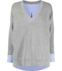 alexanderwang.t bi-layer shirting pullover - grey