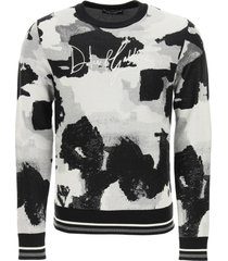 dolce & gabbana camouflage sweater with logo embroidery