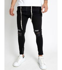hombres ripped stretch skinny drawstring jeans