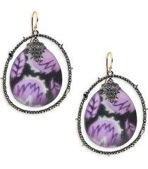 alexis bittar women's 10k goldplated, gunmetal-tone, lucite & crystal drop earrings