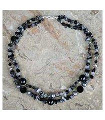 onyx and tourmalinated quartz beaded necklace, 'opulent black' (thailand)