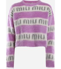 miu miu mohair blend pullover with all-over inlay logo