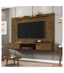 painel p/ tv móveis bechara ametista até 65pol 2 portas madeira rústica