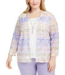 alfred dunner plus size nantucket printed layered-look necklace top
