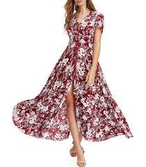 vestidos de mujer de impresión con cuello en v vestidos de playa - rojo