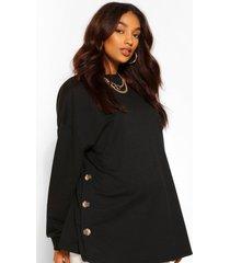 zwangerschaps borstvoeding sweater met knopen aan de zijkant, black