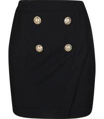 balmain black viscose-wool blend skirt