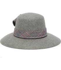 'stevie' check plaid band wide brim fedora hat