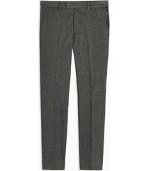 mens black mini check skinny pants