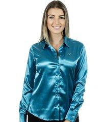 camisa pimenta rosada iasmin azul turquesa