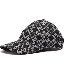 monogram print denim baseball cap