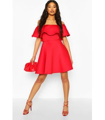 bonded scuba off the shoulder frill skater dress, red