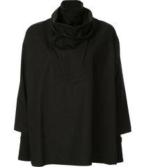 nehera funnel neck oversized shirt - black