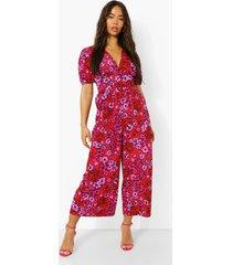 bloemenprint wide leg jumpsuit met v-hals en pofmouwen, red