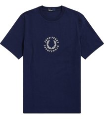 fred perry archive embroidery t-shirt - carbon blue m5590-266