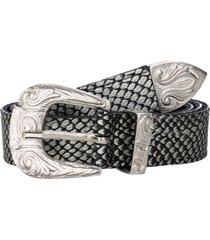 cinturón cuero moda mujer negro metalizado pollini