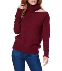 women's paige raundi cutout shoulder sweater, size large - burgundy