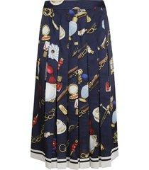 moschino pleated printed skirt