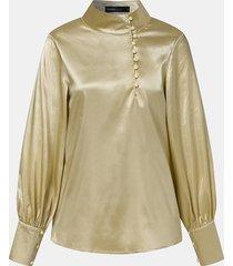 camicetta casual da donna a maniche lunghe con bottoni a collo alto tinta unita