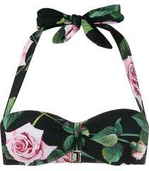 dolce & gabbana rose print bikini top - pink