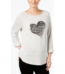 i.n.c. embellished heart sweatshirt, created for macy's