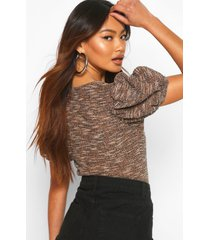 square neck puff sleeve jacquard top, tan