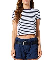 rta women's rain striped crop t-shirt - navy stripe - size l