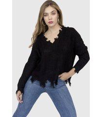 sweater roto ariadna negro racaventura