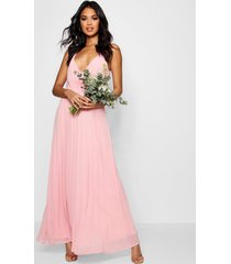 boutique pleated maxi bridesmaid dress, desert rose