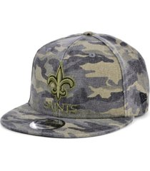 new era men's new orleans saints worn camo 9fifty cap