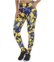 calça legging oxer estampa shape - feminina - amarelo/azul