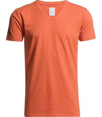 mens stretch v-neck tee s/s t-shirts short-sleeved orange lindbergh