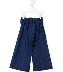 raspberry plum penelope denim wide-leg trousers - blue