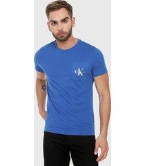 camiseta azul royal calvin klein