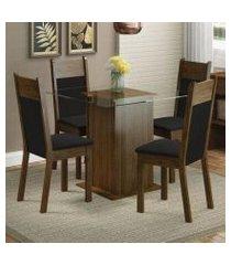 conjunto sala de jantar madesa miami mesa tampo de vidro com 4 cadeiras rustic/preto/sintético preto